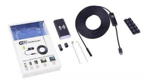 Câmera Inspeção Sonda Endoscópica Wifi Hd 5m Ios android pc Mini À Prova D 'Água Boroscópio 8mm 6 LED USB