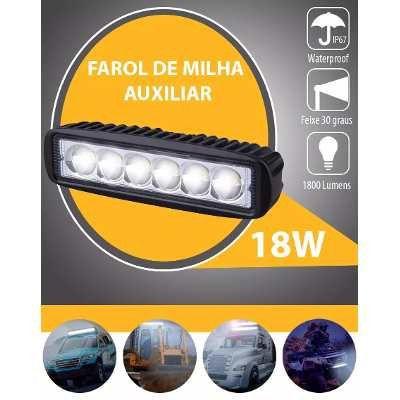 Kit 2 Farol De Milha Auxiliar 6 Leds 18w Off Road Moto Carro