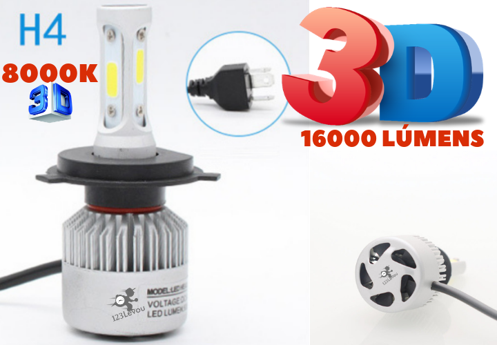 Kit H4 8000K Par 2 Lampada Super Led 3D 12v 24v 16000 Lumens