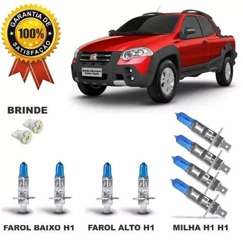 Kit Lampada Super Branca Fiat Strada Adventure Farol E Milha