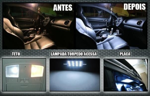 Kit Lampadas Led Farolete Placa Teto farol H4 Honda Fit 2004