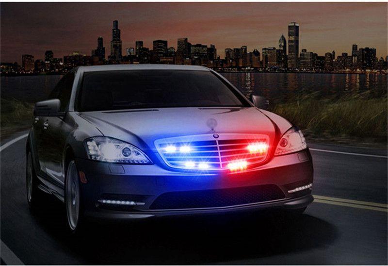 Kit Strobo Led 6 Led CarroMoto Viatura Vermelho Azul Policia