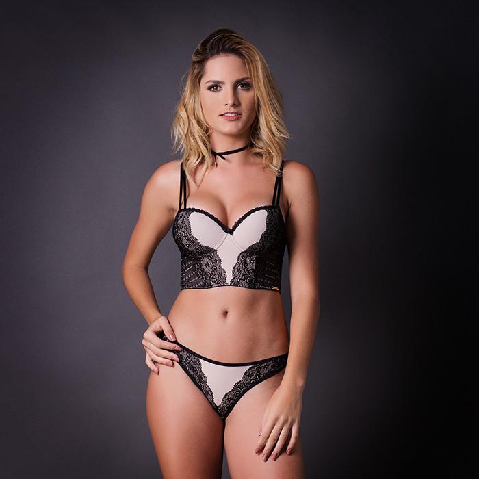 Conjunto lingerie cropped com renda 1058