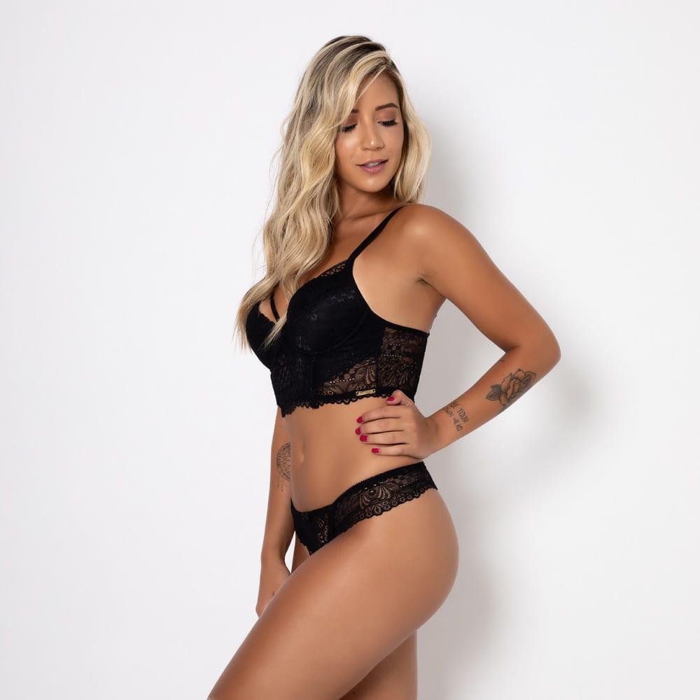 Conjunto lingerie cropped renda 1056