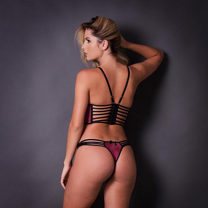 Conjunto lingerie cropped strappy bra 1077