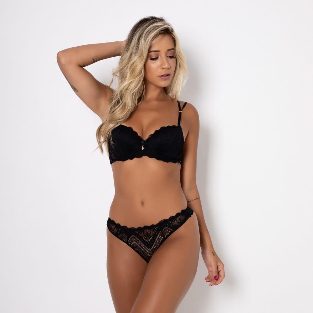 Conjunto lingerie renda com bojo 1081
