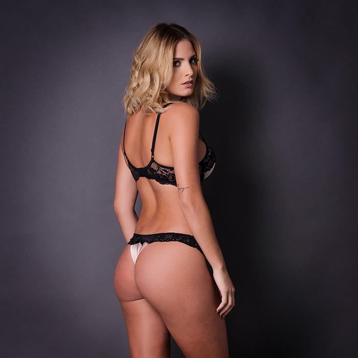 Conjunto lingerie renda com cetim 1039