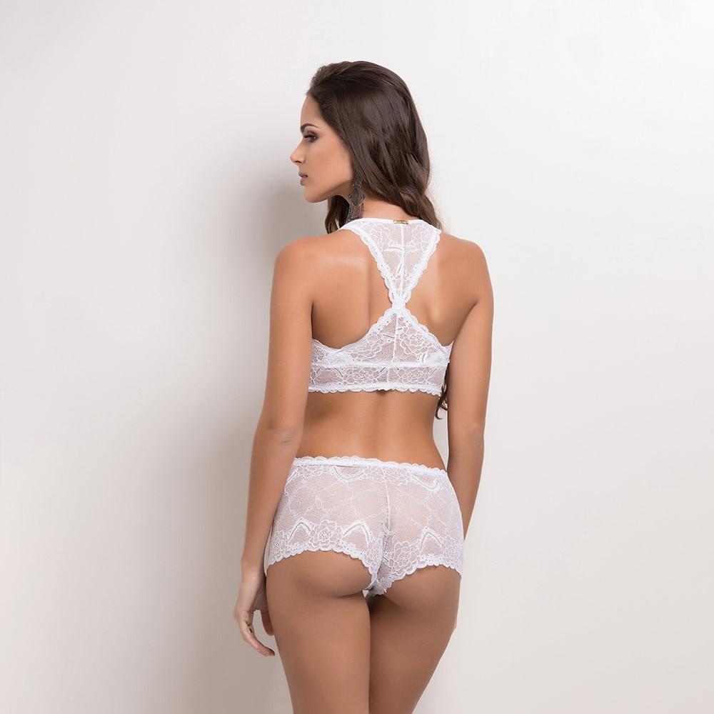 Conjunto lingerie sem bojo nadador renda 1074
