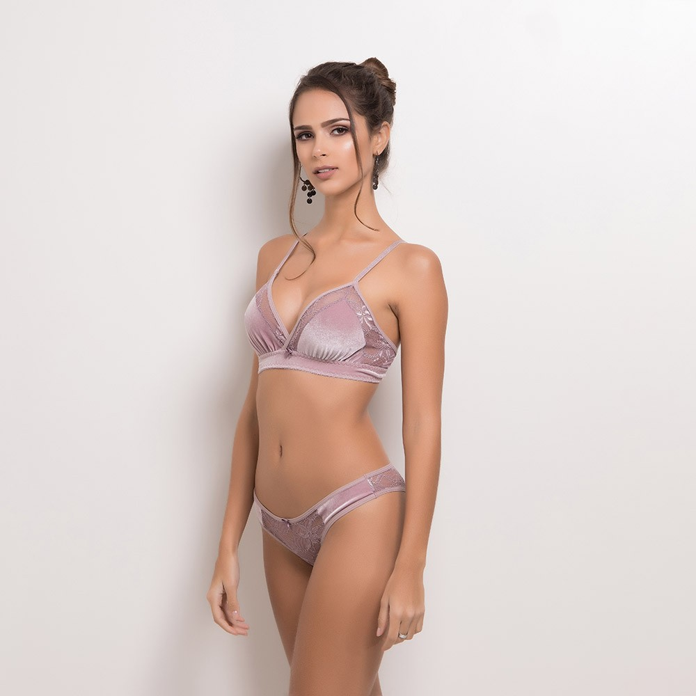 Conjunto lingerie sem bojo veludo 1094