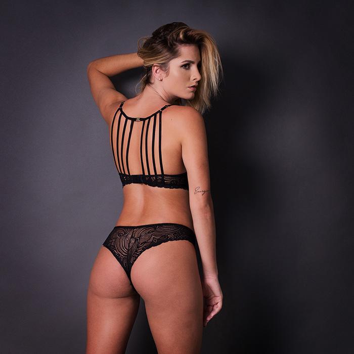 Conjunto lingerie strappy bra com bojo 1072