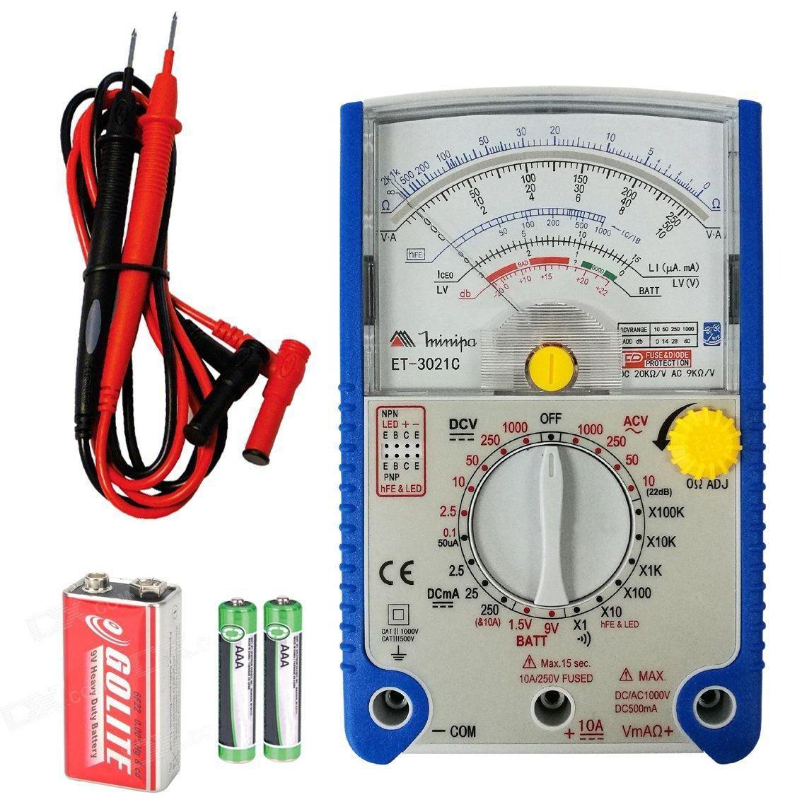 ET3021C - Multímetro Analógico Minipa Tensão AC/DC: 1.000V Resistência: 200MOH  - Rio Link