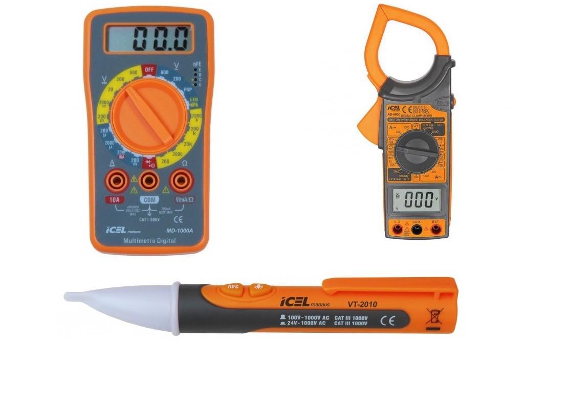 Kit de Elétrica - Multímetro, Alicate amperímetro CAT III e Detector de Tensão  - Rio Link