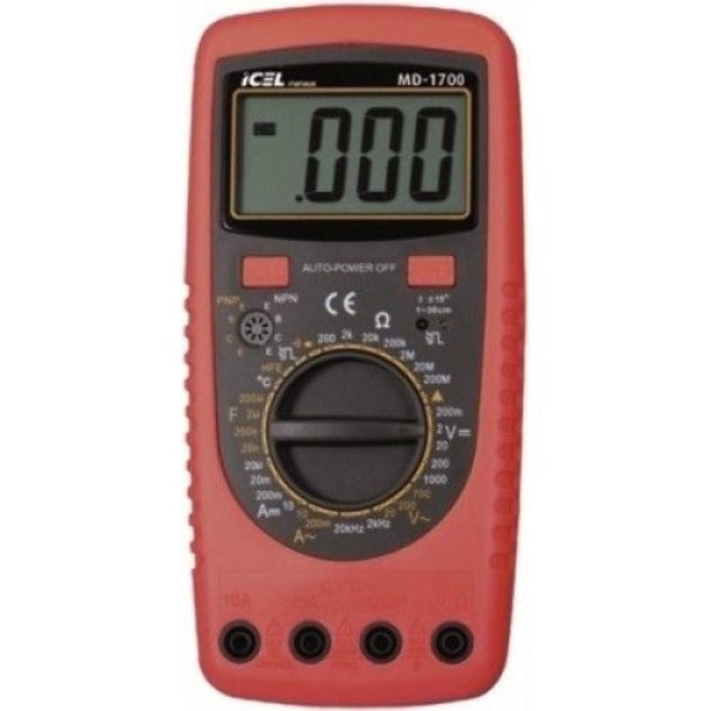 MD1700 - Multimetro Digital Icel TESTE DE CONTROLE REMOTO: INFRAVERMELHO TENSÃO CONTÍNUA: 1000Vdc TENSÃO ALTERNADA: 700VAC  - Rio Link