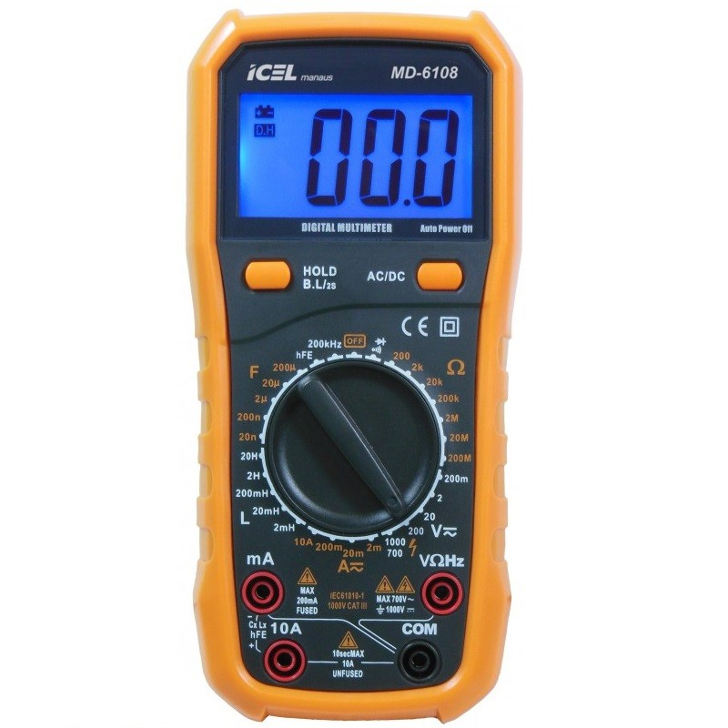 MD6108 - Multimetro Digital Icel Indutância, Capacitância, Freqüência, TENSÃO AC E DC: 700/1000.  - Rio Link