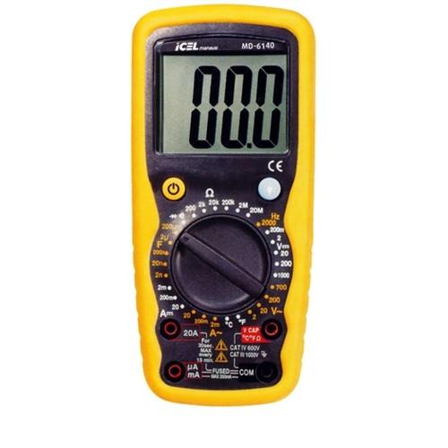 MD6140 - Multímetro digital ICEL Tensão DC: 1000V, Resistência, Capacitância e Freqüência.  - Rio Link