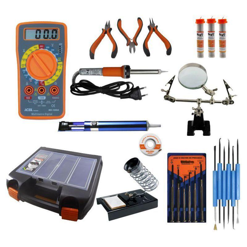 RL-KE001A - Kit para Soldagem Eletrônica SOLDA, MULTÍMETRO, LUPA, ALICATES, MALHA