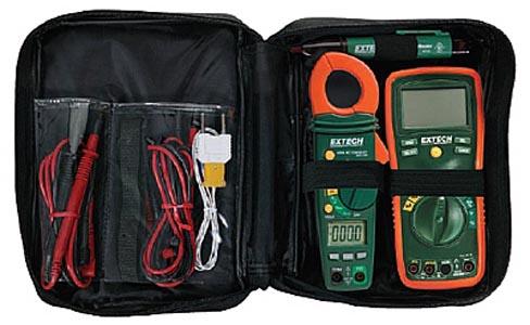TK430 - Kit de multímetro TRUE RMS, alicate amperímetro e Detctor de Tensão Extech  - Rio Link
