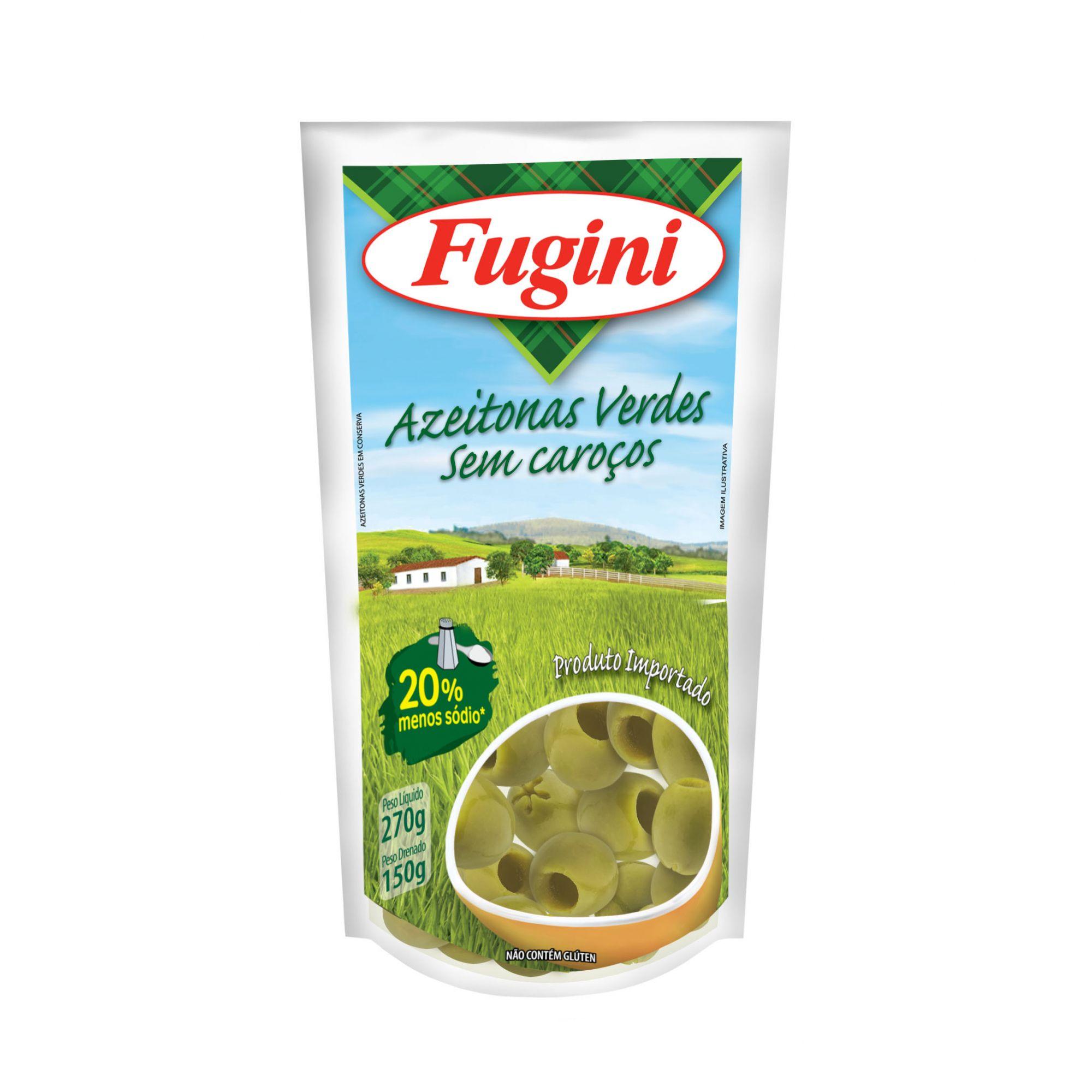 Azeitonas Verdes sem Caroço Sachê 150g Fugini