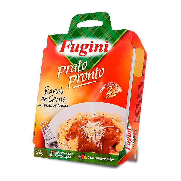 Prato Pronto Ravioli de Carne com Molho de Tomate 380g Fugini