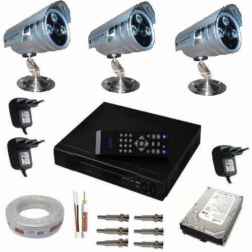Kit Cftv 3 Câmeras Ir Cut 2.000 Linhas + Cabo+ Hd 1tb + Bnc