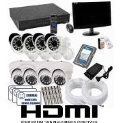 Kit Cftv 8 Cam Infra + Hd 1tb Dvr Greatek + Monitor Completo