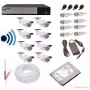 Kit Cftv Dvr Luxvision Full Hd 8 Cameras Infra Ahd 1.3mp Hd