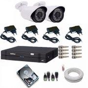 Kit 2 Câmeras De Segurança Residencial Dvr Intelbras 1004 G3