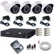 Kit 4 Câmeras De Segurança Residencial Dvr Intelbras 1004 G3
