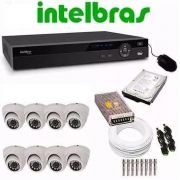 Kit Cftv Dvr 8 Ch Intelbras Hd 1 E 8 Câm Dome Infra Ahd 720p