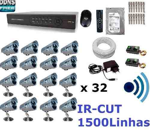 Kit Cftv 32 Cam Infra Ir-cut Hd Dvr 32 Canais com Hd 2tb