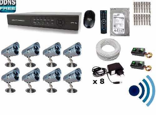 Kit Cftv 8 Cam Infra + Ir-cut Hd 1tb Dvr 16canais +200mts cabo