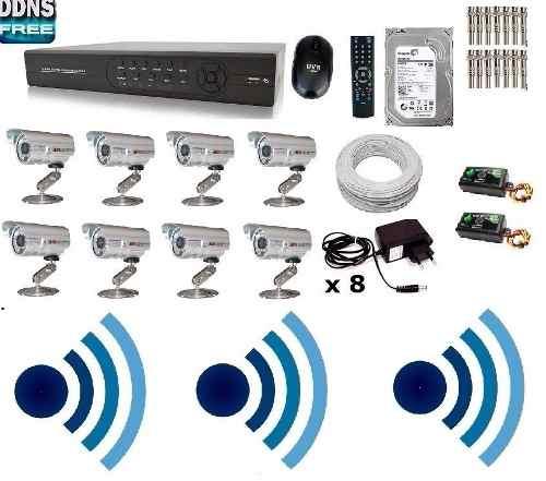 Kit Cftv Dvr 8 Cam Infra Hd 1tb Dvr 16 Canais Com Audio
