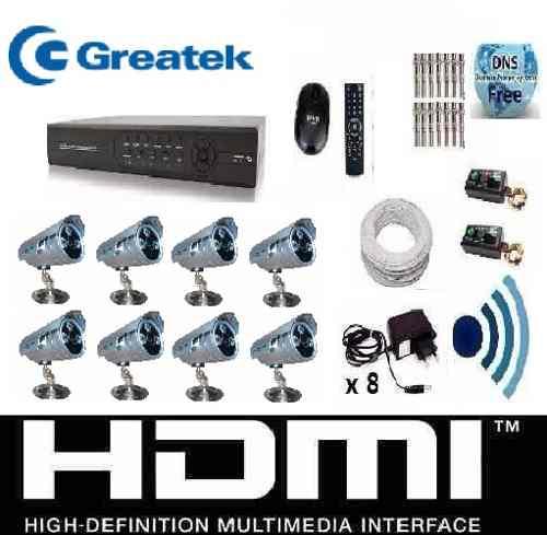 Kit Cftv 8 Cameras Infra Ir Cut 2000l Dvr 16 Canais + Audio