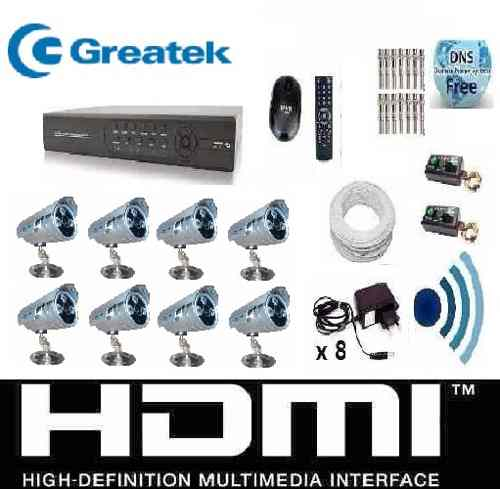 Kit Cftv 8 Cam Infra Ir-cut Hd 1tb Dvr 16canais + Audio