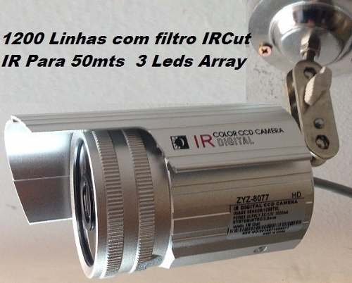 Kit Com 4 Câmeras 2000 Linhas 3 Leds + Dome 1500 Linhas