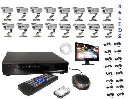 Kit Cftv Dvr Stand Alone +16 Cameras 2000linha + Monitor +hd
