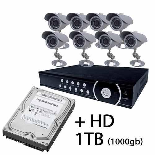 Kit Cftv Dvr 8ch/ H.264/ 8 Cameras Infra /8 Fonte/ Hd1 Tera