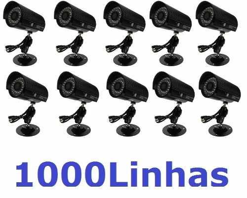 10 Cameras Cftv Preta Infravermelho Ccd Digital 1000 Linhas