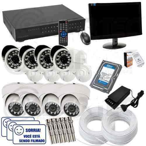 Kit Cftv Dvr 8 Cameras Infra 1500 Linhas + Hd 1tb + Monitor