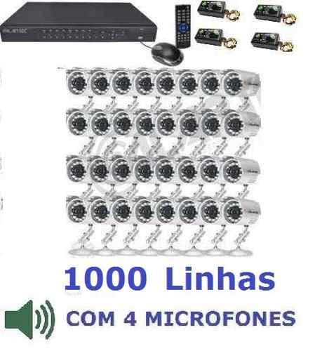 Kit Cftv 32 Cameras Sony Dvr 32 Canais Plat. Intelbras Cod29