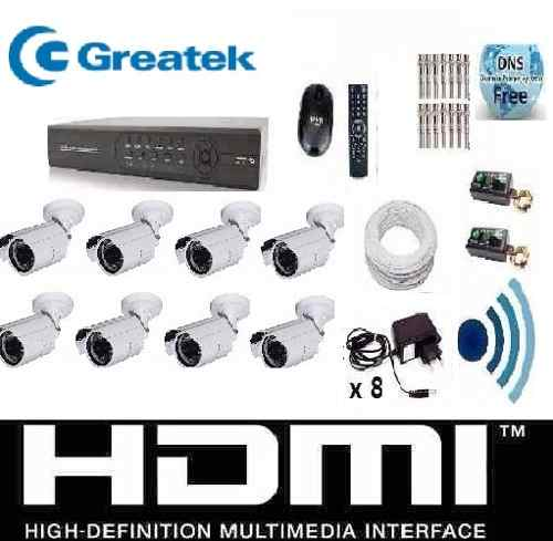 Kit Cftv 8 Cam Infra Verm. Hd 500gb Dvr 16 Canais Com Audio