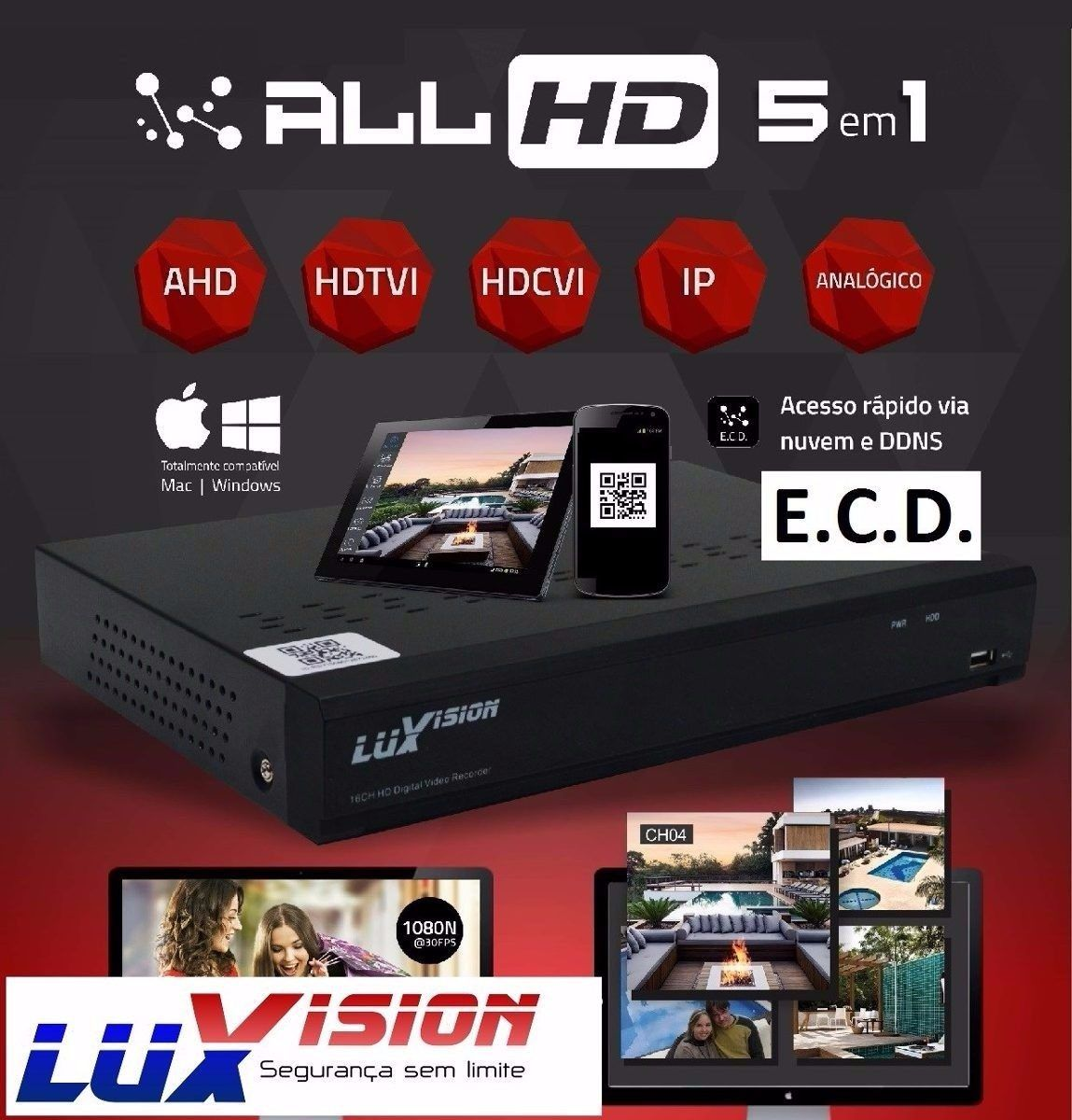 Dvr 5x1 Luxvision 16 Canais Full Hd 1080p + Hd 1tb Purple