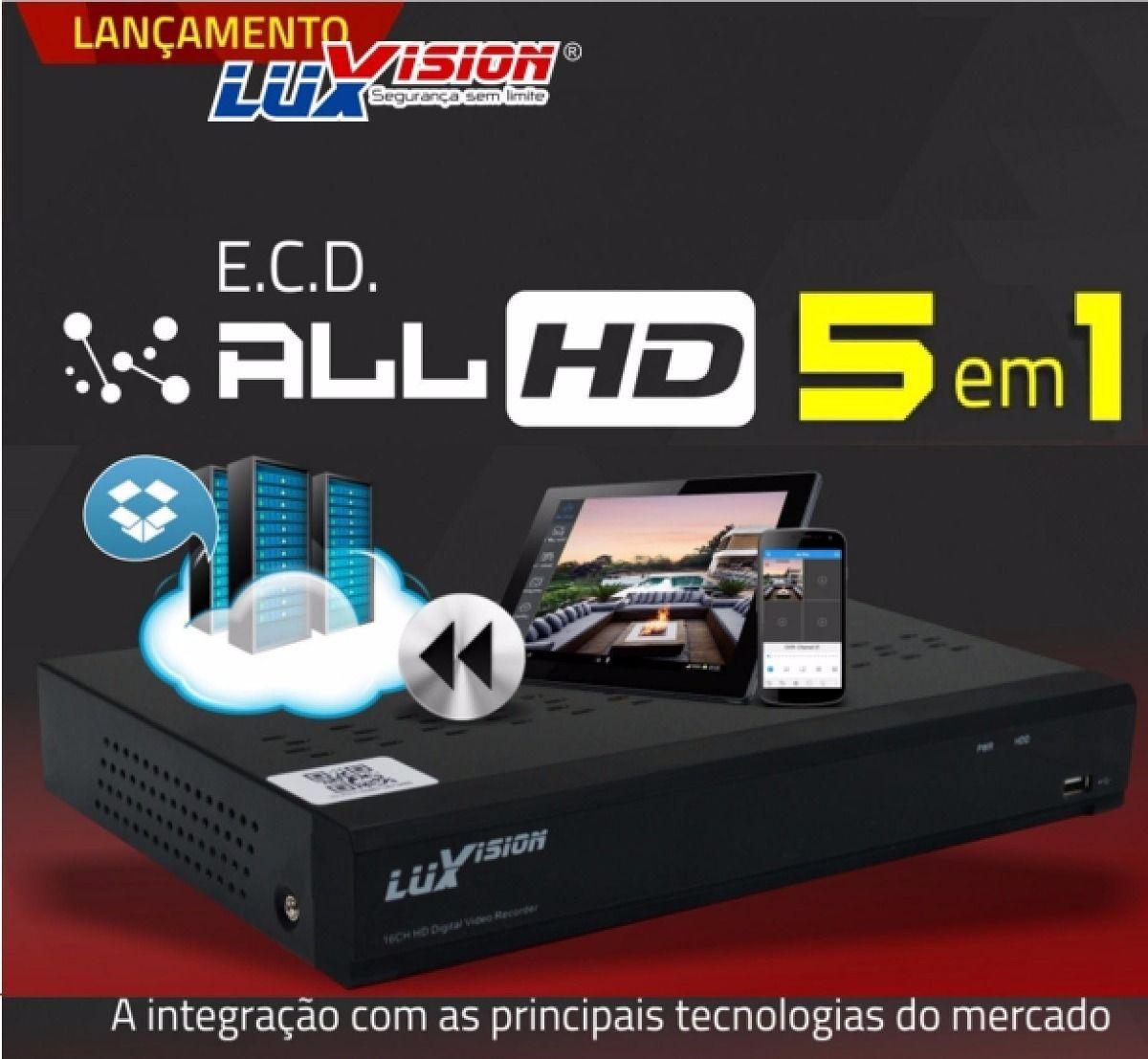 Dvr 5x1 Luxvision 16 Canais Full Hd 1080p + Hd 1tb Purple