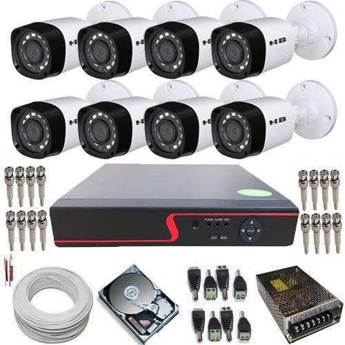 Kit 8 Câmeras de Monitoramento Híbridas Infravermelho 720p 1 Megapixel + DVR 8 Canais