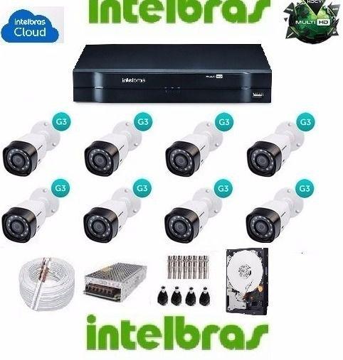 Kit 8 Cameras Vhd 1010b Dvr 8 Ch 1008 Mhdx Intelbras Hd