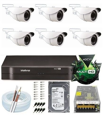 Kit 8 Canais Dvr 3008 Hd Intelbras 6 Câmeras 2 Mega Full Hd
