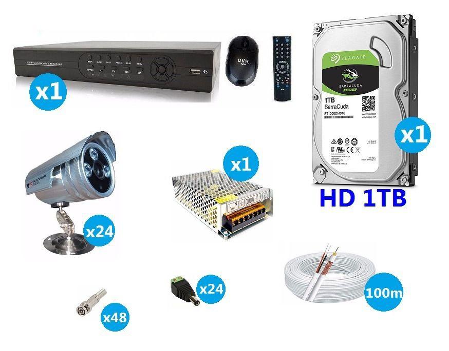 Kit Cftv 24 Cameras Infra Ir Cut 2000 Linhas Dvr 32 Canais