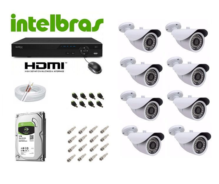 Kit Cftv Dvr 32 Canais Intelbras 1132 Ahd 24 Camera 720p