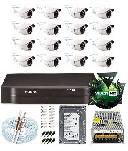 Kit Dvr 16 Canais Multi Hd Intelbras Câmera 2 Mega Full Hd