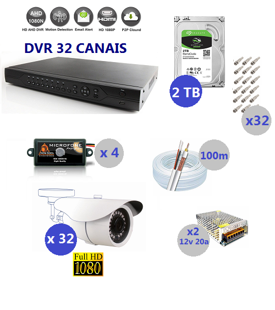 Kit Dvr 32 Cameras Full HD 1080 Infravermelho  + Hd 2tb